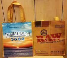 Two (2X) Raw Rolling Paper/ Elements  Reusable Grocery Tote Bags 420