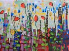 Intuitive abstract painting red,yellow,blue contemporary by artist Joy Campbell