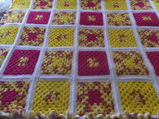 VINTAGE HAND CROCHET GRANNY SQUARE YELLOW & PINK AFGHAN BLANKET