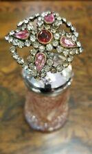 "Antique Victorian Hatpin 7 1/2"", Pink Teardrop, Ruby Center, Clear Rhinestones"