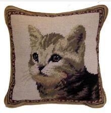 "Cat Needlepoint Pillow 9""X9"" NWT"