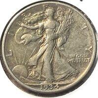 1934-S Walking Liberty Half Dollar 50C Silver XF Toned US Coin