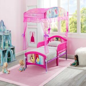 Disney Princess Toddler Plastic Canopy Bed Pink Bedroom Furniture for Children