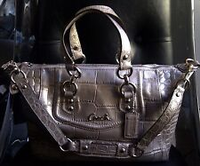 COACH Ashley Embossed Croc Metallic Leather Satchel Bag Purse F20346 Silver $398