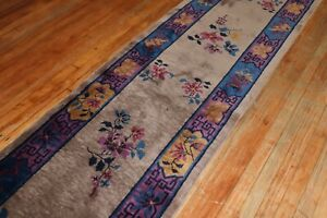 Antique Chinese Art Deco Rug Runner Size 2'6''x11'9''