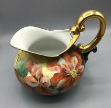 Vintage T & V Limoges France Hand Painted Poinsettia? Gold Trim Cider Pitcher