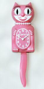 "STRAWBERRY ICE LADY KIT CAT CLOCK 15.5"" Pink USA MADE Kit-Cat Klock"