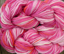 Pure wool yarn Iceland bulky weight, white, pink and peach, 2 skeins, 7 oz.