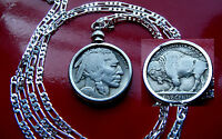"""American Buffalo Nickel Pendant  on a  Classic 30"""" 925 Sterling Silver Chain"""