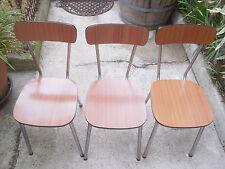 3 chaises en Formica Vintage marron années 70