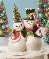 """Bethany Lowe """"Sno Pals"""" Snow Couple 10"""" Figure - Hand-Painted w/Glitter (TD8550)"""