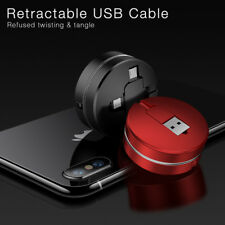 Retractable Lightning &Micro & Type C 3 in 1 USB Charger Cable 1M Data Sync Cord