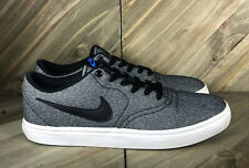 Nike SB Check Solar Canvas Black Blue Skating Shoes 843896-004 Men's Sz 8.5