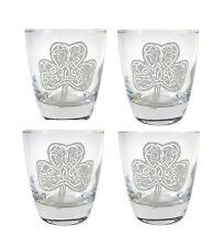 Irish Shamrock Clear Lowball Rocks Glass Set of 4, Free Personalized Engraving