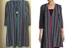 Misook White Black Linden Green Grid-Print Striped V-Neck Long Knit Jacket M
