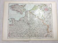 1899 Antik Map Of Northern Frankreich Paris Stadt Brittany 19th Century Original
