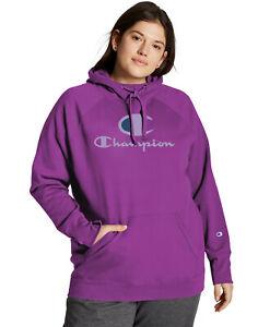 Champion Plus Size Powerblend Logo Hoodie Sweatshirt - 4X, Flashy Magenta #7968