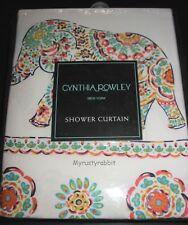 "Cynthia Rowley Fabric Shower Curtain 72"" x 72"" Elephant Parade - New"