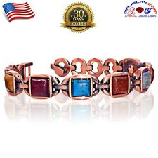COPPER MAGNETIC GOLF BRACELET WOMEN ARTHRITIS PAIN MULTI GEMSTONE X37_C