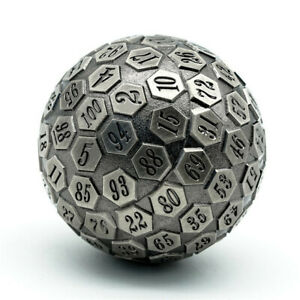 Metal Single 100 Sided Polyhedral Dice (D100) | Silver Color Solid (45mm)
