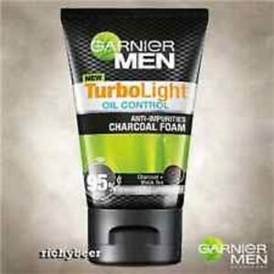 100ml GARNIER for MEN TurboLight Oil CHARCOAL BLACK Foam Acne Cleanser Face Wash