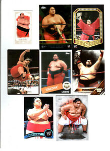 Yokozuna Wrestling Lot of 8 Different Trading Cards With 3 Inserts WWE Y-D1