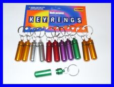 12 PILL BOX KEYRINGS ASSORTED COLOURS SCREW TOP NEW