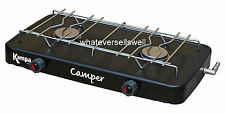 PORTABLE DOUBLE GAS COOKER stove camping 2 burner hob Kampa