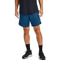 Under Armour UA HeatGear Mens Performance Knit Blue Sports Training Shorts L