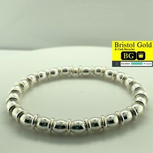 925 STERLING SILVER BEADED STRETCH BRACELET-60mm-FULLY HALLMARKED & FREE P&P