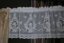 """Laura vintage white cotton lace window valance shabby chic cottage Soiled 70"""""""