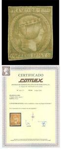 Spanish PHILIPPINES 1854  Queen Isabella II  2r green Scott # 5 mint MH - SCARCE