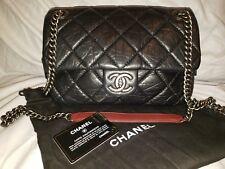 Authentic Chanel classic caviar black leather handbag
