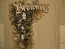 Browning Deer Hunting Bass Fishing Apparel Tan T Shirt M