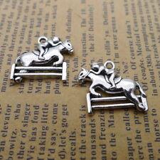 8pcs Charms Riding Man Tibetan Silver Beads Pendants DIY 17*22mm