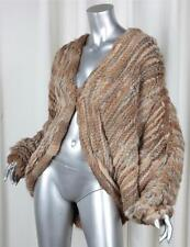 WHAT GOES AROUND COMES AROUND Knitted Rabbit Fur Cape Coat Cocoon Jacket S NEW