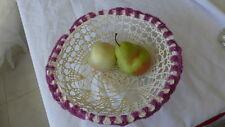 Bread Basket Home Decor Handmade Crocheted White Cotton Thread Nice Pattern Gift