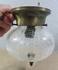Vtg Underwriters Cracked Glass Brass Wall Flush Mount Electric Light Fixture