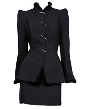 $3,200 THIERRY MUGLER Black Runway Suit jacket skirt SZ 42 8 10 Vintage PERFECT!