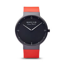 Bering Time Max René Collection Silicone Bands Men Watch Black Mat/Red 15540-523