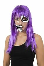 Transparent Mask Skeleton 1/2 Face Day of The Dead Halloween Fancy Dress