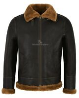 Men's B3 Sheepskin Jacket Real Shearling Leather Brown Flying Fur Jacket Nv-65