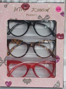 BETSEY JOHNSON 3 Pair Reading Glasses Black Tortoise Poppy LARGE Cat Eye Readers
