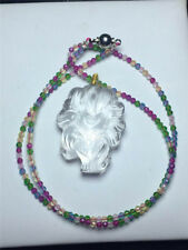 Natural Clear White Quartz Crystal Pendant+Beads Necklace Nine-tailed Fox Reiki