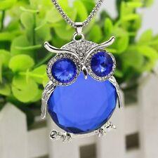 Women Owl Rhinestone Crystal Pendant Necklace Winter Long Sweater Chain Jewelry