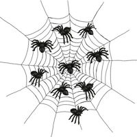 50pcs Plastic Spider Trick Toy Party Halloween Haunted House Prop Decor Cheap!!!