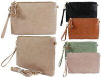 Ladies Faux Leather Mock Croc Skin Clutch Detachable Wristlet Shoulder Strap Bag