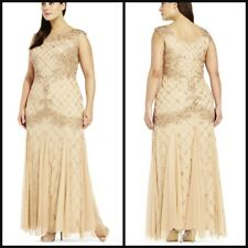 NWT Adrianna Papell Fully Beaded Sleeveless Godet Gown Champagne Size 14W