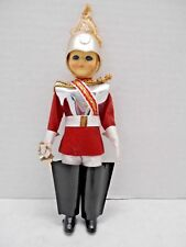 Vintage Plastic Doll Soldier Guard With Sword Souvenir Figure Red Coat