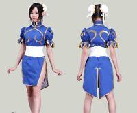 Anime Street Fighter Chun Li Blue Dress Cosplay Costume Lolita Girls Dress